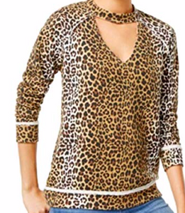 Self E Juniors' Printed Cutout Sweatshirt, Leopard, Medium