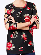 Almost Famous Juniors' Cutout-Sleeve Tunic, Black Floral, X-Large