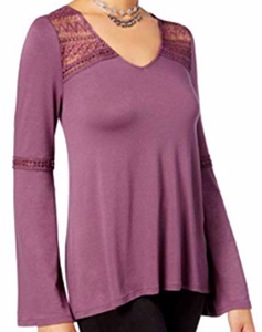 Hippie Rose Juniors' Lace-Trim Bell-Sleeve Top, Purple, Xsmall