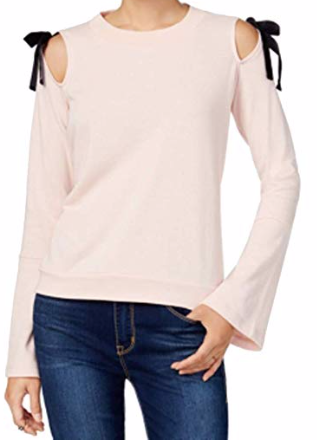 Freshman Juniors' Bow-Detail Cold-Shoulder Top, Blush, XL