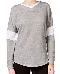 Jessica Simpson Womens Heathered Warm-up Sweatshirt, Grey, XS
