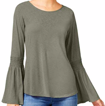 Ultra Flirt Juniors' Bell-Sleeve Peasant Top, Olive, X-Large