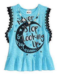 Belle Du Jour Ruffle-Edge Graphic-Print Tank Top 2 Piece Set , Blue, Large