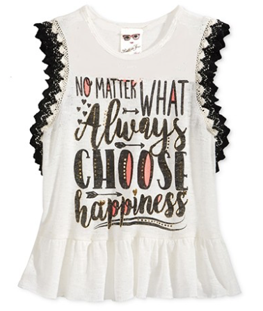 Belle Du Jour Ruffle-Edge Graphic-Print Tank Top, Off White, X-Large