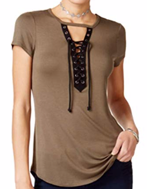 Ultra Flirt Juniors' Cutout Lace-Up Top, Olive, XSmall