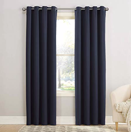 "Sun Zero Barrow Energy Efficient Grommet Curtain Panel, 54"" x 84"", Navy Blue"