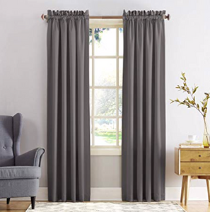 "Sun Zero Barrow Energy Efficient Rod Pocket Curtain Panel, 54"" x 95"", Steel Gray"