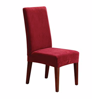 SureFit Stretch Pique - Shorty Dining Room Chair Slipcover  - Garnet
