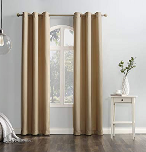 "No. 918 Montego Casual Textured Grommet Curtain Panel, 48"" x 63"", Taupe"