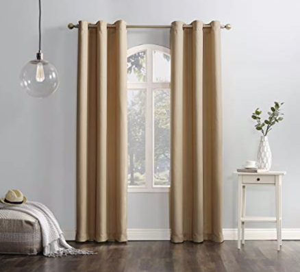 "No. 918 Montego Casual Textured Grommet Curtain Panel, 48"" x 84"", Taupe"