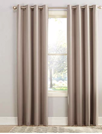 "Sun Zero Barrow Energy Efficient Grommet Curtain Panel, 54"" x 84"", Stone"