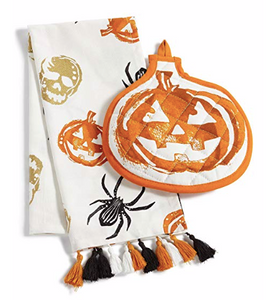 Martha Stewart Halloween Kitchen Towel and Oven Mitt 2-Piece Set