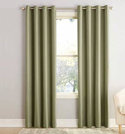 "Sun Zero Barrow Energy Efficient Grommet Curtain Panel, 54"" x 84"", Sage Green"