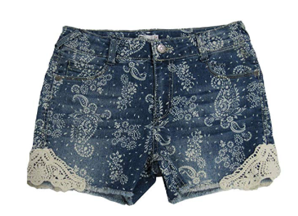 Epic Threads Lace-Trim Paisley Denim Shorts Medium Wash, Size 16 (7-16)