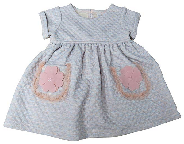 Sweet Heart Rose Baby Girls' Quilted Flower-Pocket Dress Grey Coral 12 Months