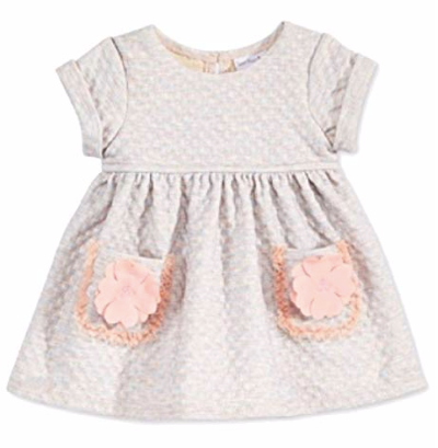 Sweet Heart Rose Baby Girls' Quilted Flower-Pocket Dress Grey Coral, 12 Months