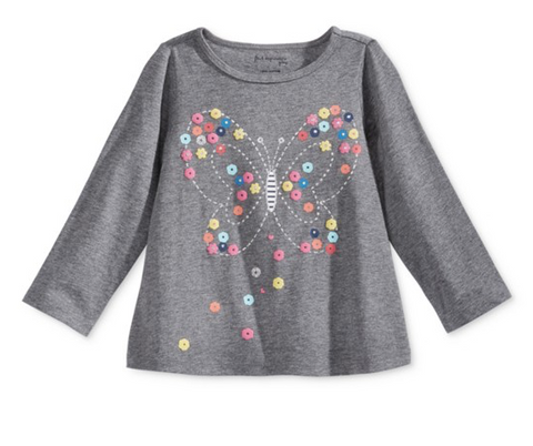 First Impressions Long-Sleeve Butterfly Graphic-Print T-shirt, Pewter Heather, 24 Months