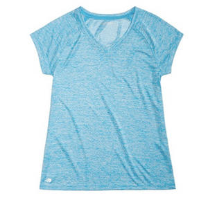 Ideology Girls Heather V-Neck T-shirt, Arctic Blast, Medium (10/12)
