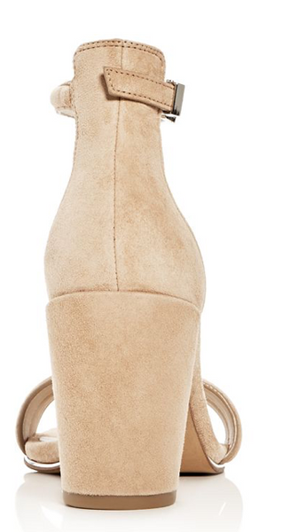 Kenneth Cole Women's Lex Suede Ankle Strap Block Heel Sandals, Tan, 9 M US