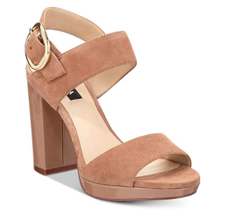 DKNY Womens Bell Slingback Leather Open Toe Special Occasion Ankle Strap Sand, Walnut , 9 M US