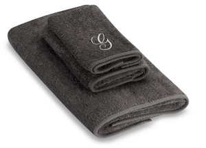 "Avanti Monogram Letter ""G"" Script Granite and Silver 27"" x 52"" Bath Towel, Grey"