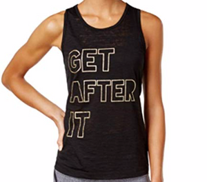 Material Girl Active Juniors' Slit-Back Graphic Tank Top, Black, Large