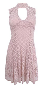 Trixxi Juniors' Lace Border Cutout Dress Blush, X-Small