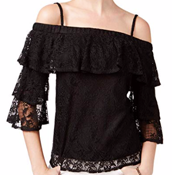BCX Juniors' Lace Cold-Shoulder Top, Black, Small