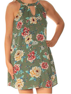 As U Wish Juniors' Printed Mock-Neck Shift Dress, Green, X-Large