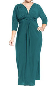 Plus Side Three-Quarter-Sleeve Knotted Maxi Dress, Assorted, 2XL