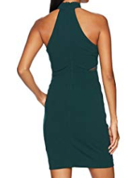 Sequin Hearts Women's Mock Neck Dress with Illusion Cut Outs, Green, Size 11