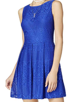 B. Darlin Womens Juniors Lace Fit & Flare Party Dress, Royal, 3/4