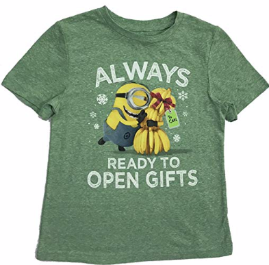 Universal Studios Boy's Minions Always Ready To Open Gifts Tee ,Green, Size 3