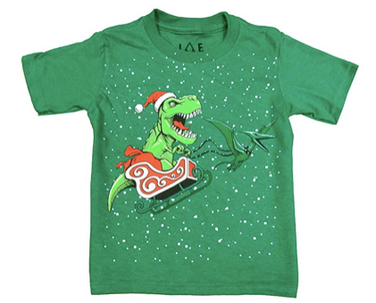 Jem Little Boys Graphic-Print Tyrannosaurus Santa T-Shirt, Green, 6
