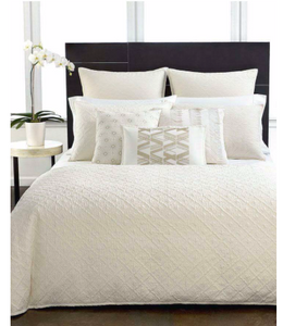 Hotel Collection Stitched Diamond Standard Pillow Sham Off White Creme Cotton
