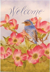 Rain or Shine Welcome Bird on Branch with Flowers Large Applique Yard Flag