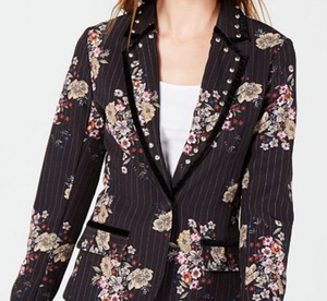 XOXO Juniors Black Floral Blazer, Black, Large, woman women meeting office dress