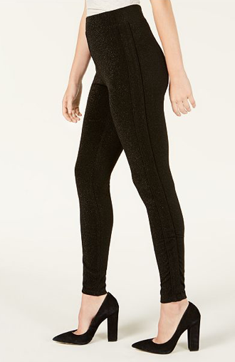 Get ready to dance and mingle in Ultra Flirt By Ikeddi's party-ready leggings, fashioned with pieced tuxedo side stripes and allover shine details