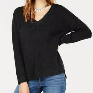 Crave Fame Juniors' Mossy Ribbed-Knit Tun Sweater, Black, Large