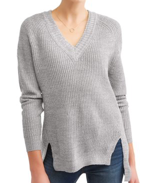 No Comment  Juniors' Tipped V-Neck Tunic Long-Sleeve Sweater, Gray Marl, Small