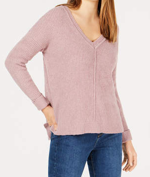 Hippie Rose Juniors' Mossy Ribbed-Knit V-neck Sweater, Lilac Bloom, X-Large