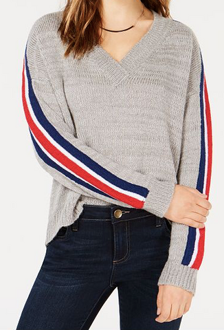 Ultra Flirt Juniors' Varsity-Stripe V-Neck Sweater, Grey, Medium