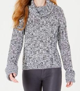 Hooked Up by IOT Juniors' Marled Cowl-Neck Sweater, Vanilla/Black, Large