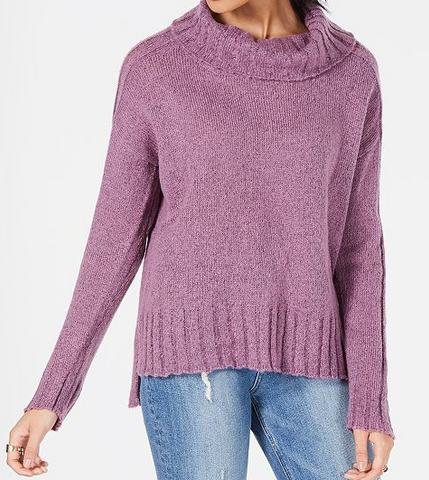 Hooked Up by IOT Juniors' Drop-Shoulder Sweater, Lilac, Large