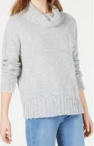 Hooked Up by IOT Juniors' Drop-Shoulder Sweater, Grey, Large