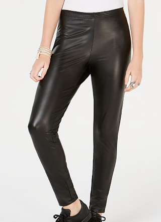 Ultra Flirt Juniors' Faux-Leather Leggings, Black, Medium