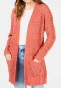 Hippie Rose Women's Long Sleeve Sweater, Coral Blush, Medium