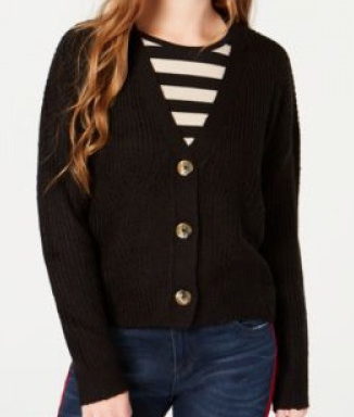 Ultra Flirt Juniors' Cropped Button-Front Cardigan, Black, Medium