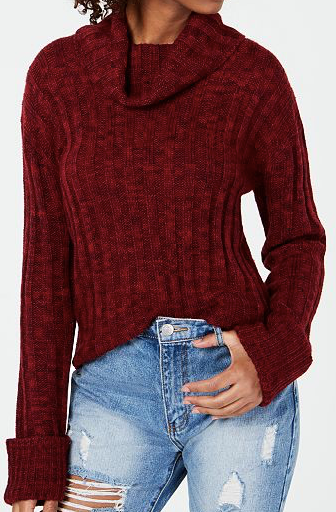 Hooked Up by IOT Juniors' Marled Cowl-Neck Sweater, Vino/ Garnet, Large