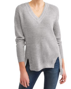 No Comment Women's Tipped V-Neck Raglan Tunic, Grey, X-Large